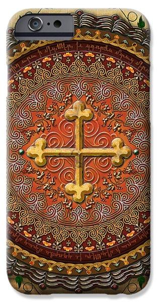 Mandala Armenian Cross sp iPhone Case by Bedros Awak