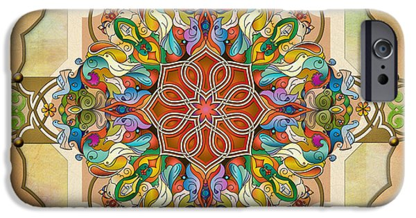 Bedros Mixed Media iPhone Cases - Mandala Birds sp iPhone Case by Bedros Awak