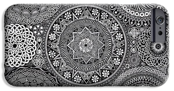 Coins Drawings iPhone Cases - Mandala Bouquet iPhone Case by Matthew Ridgway