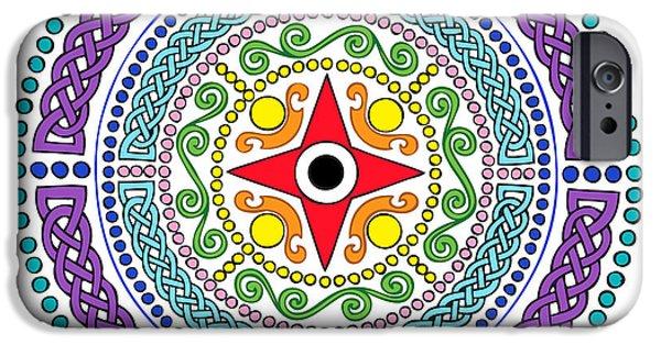Kim Digital Art iPhone Cases - Mandala Celtic Chakras White Light iPhone Case by Kim Victoria