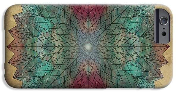 Flower Of Life Digital Art iPhone Cases - Mandala Crystal iPhone Case by Filippo B