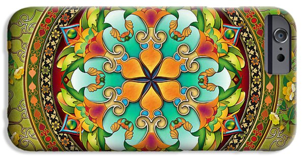 Crows Mixed Media iPhone Cases - Mandala Evergreen iPhone Case by Bedros Awak