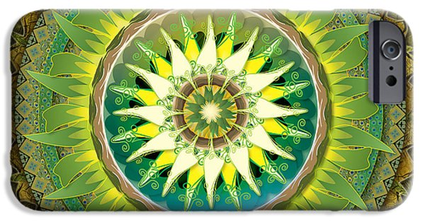Bedros Mixed Media iPhone Cases - Mandala Green iPhone Case by Bedros Awak