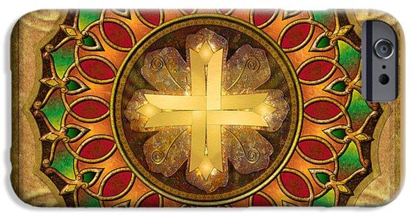 Awak Mixed Media iPhone Cases - Mandala Illuminated Cross iPhone Case by Bedros Awak
