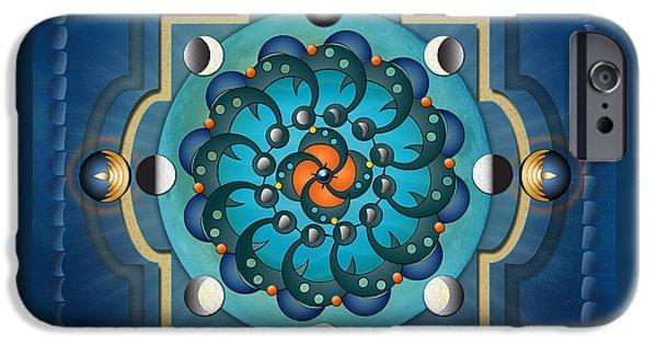 Awak Mixed Media iPhone Cases - Mandala Moon Phases iPhone Case by Bedros Awak