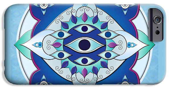 Ceramic Mixed Media iPhone Cases - Mandala Of The Seven Eyes iPhone Case by Bedros Awak