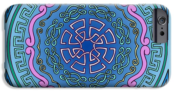 Kim Digital Art iPhone Cases - Mandala of the Water Element iPhone Case by Kim Victoria