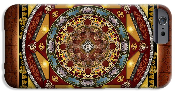Healing Posters iPhone Cases - Mandala Oriental Bliss sp iPhone Case by Bedros Awak