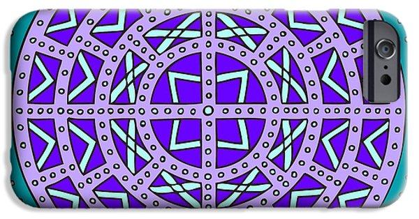 Kim Digital Art iPhone Cases - Mandala Scottish Shield Violet iPhone Case by Kim Victoria