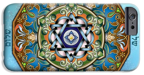 Mandalas iPhone Cases - Mandala Shalom iPhone Case by Bedros Awak