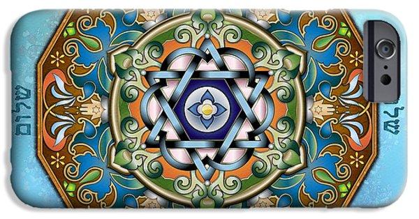 David Mixed Media iPhone Cases - Mandala Shalom iPhone Case by Bedros Awak
