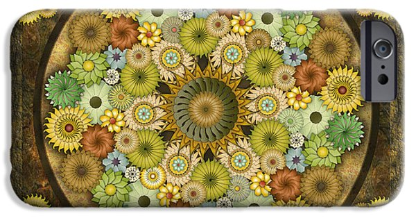 Abstract Digital Mixed Media iPhone Cases - Mandala Stone Flowers sp iPhone Case by Bedros Awak