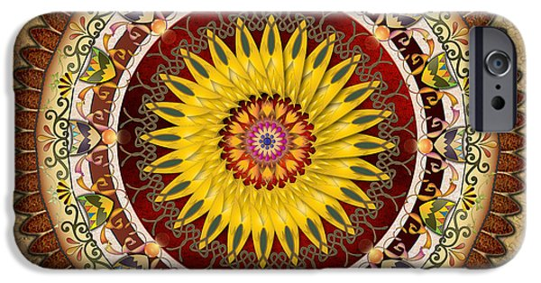 Bedros Mixed Media iPhone Cases - Mandala Sunflower iPhone Case by Bedros Awak