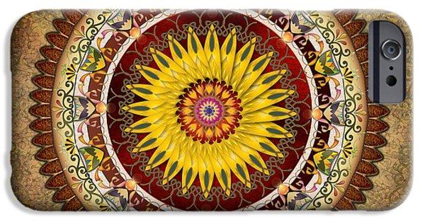 Awak Mixed Media iPhone Cases - Mandala Sunflower iPhone Case by Bedros Awak