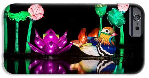 Good Luck iPhone Cases - Mandarin duck Chinese Lantern iPhone Case by Tim Gainey