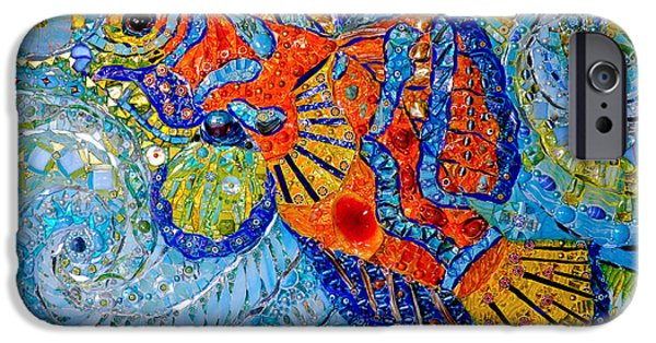 Texture iPhone Cases - Mandarin Fish, 2013 Mosaic iPhone Case by Maylee Christie
