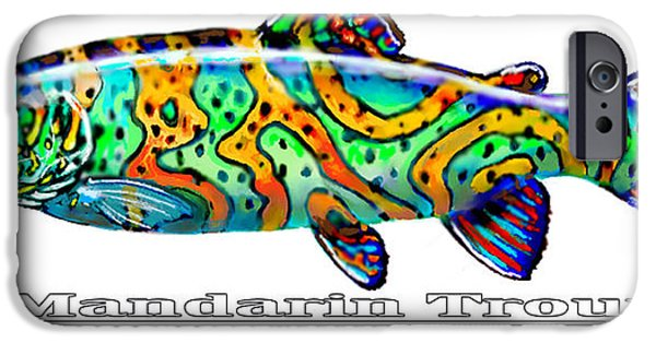 Angling iPhone Cases - Mandarin Trout Savlenicus Artisticus iPhone Case by Mike Savlen