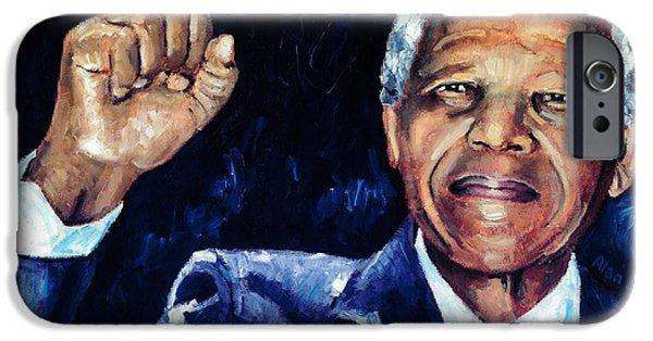 Politician iPhone Cases - Mandela - Amandla iPhone Case by Alan Levine