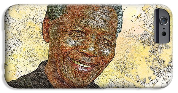 Politician Digital iPhone Cases - Mandela iPhone Case by Anthony Caruso