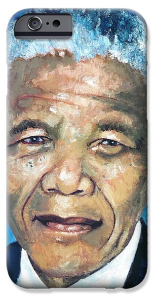 Democracy Paintings iPhone Cases - Mandela Portrait 1 iPhone Case by Alan Levine