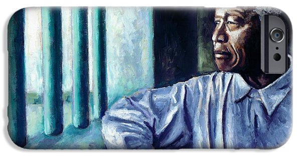 Democracy Paintings iPhone Cases - Mandela - Robben Island iPhone Case by Alan Levine