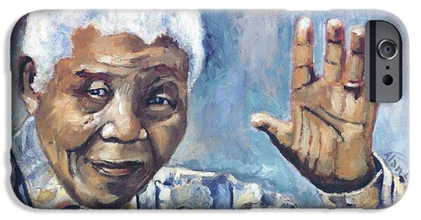 Nation iPhone Cases - Mandela - Waving iPhone Case by Alan Levine