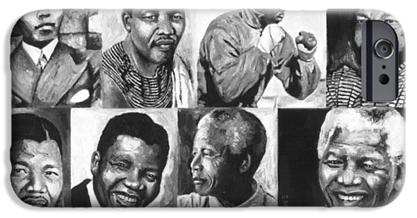 Democracy Paintings iPhone Cases - Mandela Youth 1 iPhone Case by Alan Levine