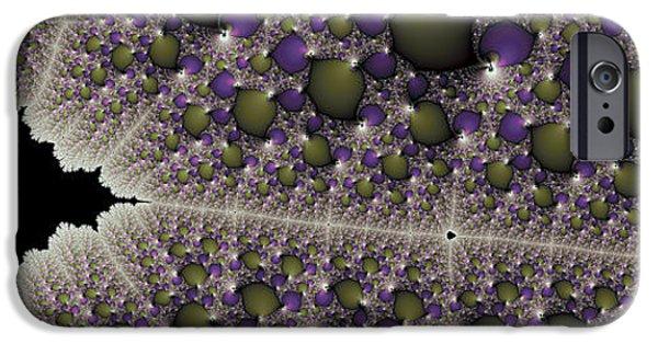 Graphic Design iPhone Cases - Mandelbrot spaceship in fractal universe iPhone Case by Matthias Hauser