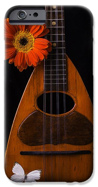 Hand-made iPhone Cases - Mandolin With White Butterly iPhone Case by Garry Gay
