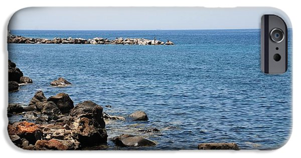 Mandraki iPhone Cases - Mandraki coastline Nisyros iPhone Case by David Fowler