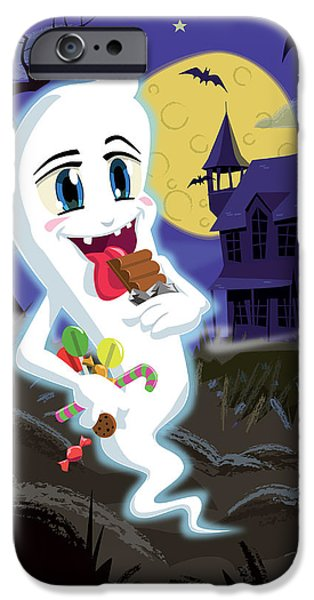 Manga Sweet Ghost at Halloween iPhone Case by Martin Davey