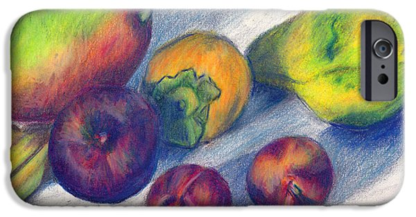 Mango Drawings iPhone Cases - Mango and Plums iPhone Case by Connie Thomas
