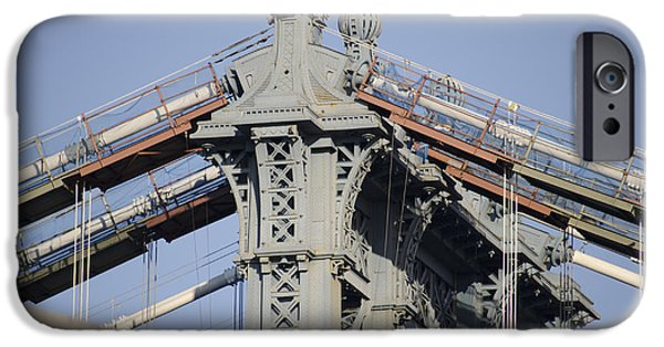 Manhatan iPhone Cases - Manhatan Bridge iPhone Case by Mitch Clark