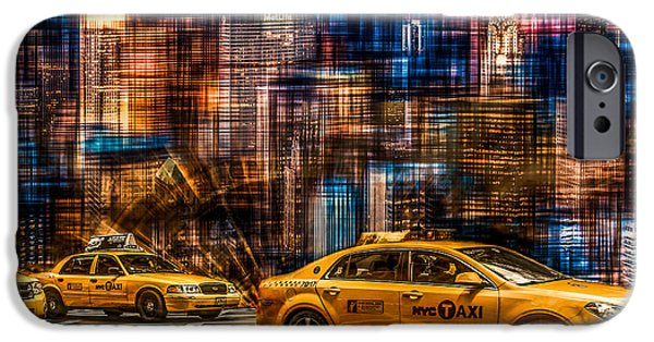 High Tower iPhone Cases - Manhattan - Yellow Cabs I iPhone Case by Hannes Cmarits
