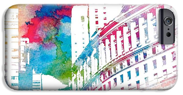 Manhattan Mixed Media iPhone Cases - Manhattan Architecture Watercolor iPhone Case by Dan Sproul
