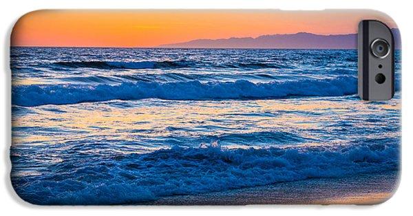 Californian iPhone Cases - Manhattan Beach Sunset iPhone Case by Inge Johnsson