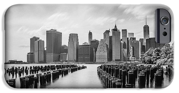Nyc Pyrography iPhone Cases - Manhattan black and white iPhone Case by Eduard Kraft