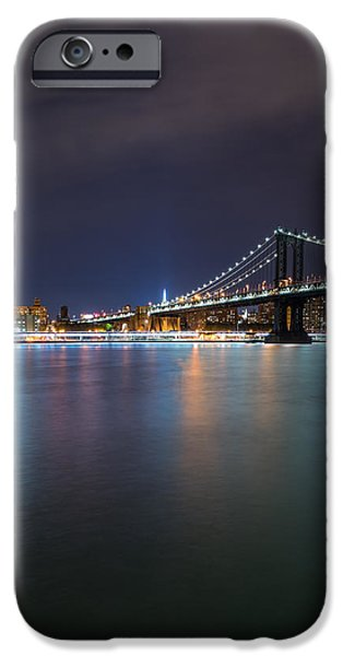 Hudson River iPhone Cases - Manhattan Bridge - New York - USA iPhone Case by Larry Marshall