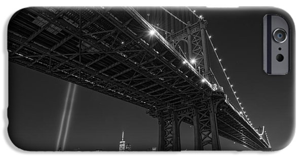 Manhatan iPhone Cases - Manhattan Bridge 911 BnW iPhone Case by Michael Ver Sprill
