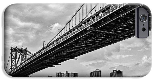 Empire State Building iPhone Cases - Manhattan Bridge NYC Skyline iPhone Case by Susan Candelario