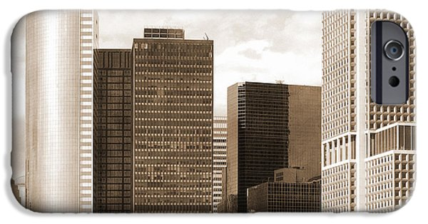 Hudson River iPhone Cases - Manhattan buildings vintage look iPhone Case by RicardMN Photography