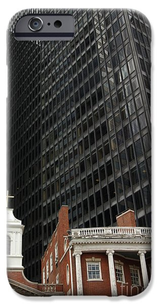 Old And New iPhone Cases - Manhattan Contrast in Red and Black iPhone Case by Anna Lisa Yoder