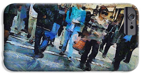 Abstract Movement Mixed Media iPhone Cases - Manhattan Crosswalk iPhone Case by Dan Sproul