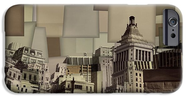 Buildings Mixed Media iPhone Cases - Manhattan Cubism iPhone Case by Dan Sproul