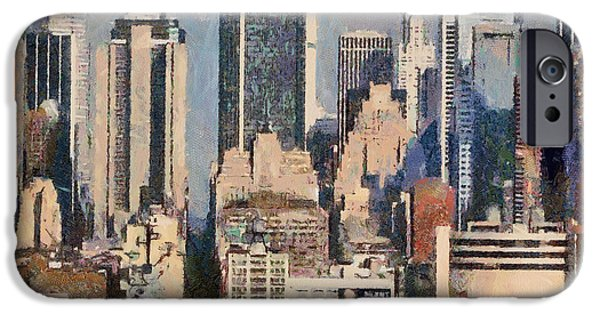 Twin Towers Nyc Paintings iPhone Cases - Manhattan digital artwork iPhone Case by Georgi Dimitrov