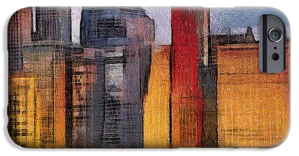 Twin Towers Nyc Paintings iPhone Cases - Manhattan digital painting iPhone Case by Georgi Dimitrov