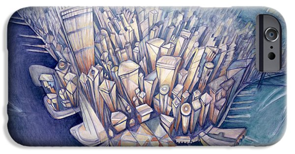 Birdseye iPhone Cases - Manhattan From Above, 1994 Oil On Canvas iPhone Case by Charlotte Johnson Wahl