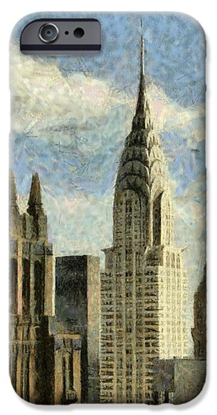 Twin Towers Nyc Paintings iPhone Cases - Manhattan  iPhone Case by Georgi Dimitrov