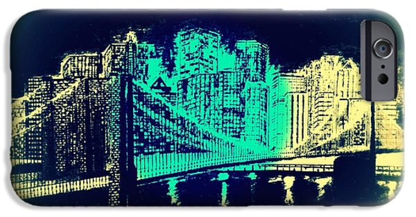 Brooklyn Bridge Mixed Media iPhone Cases - Manhattan In Blue iPhone Case by Irving Starr