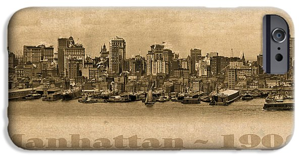 Skyscraper Mixed Media iPhone Cases - Manhattan Island New York City USA Postcard 1908 Waterfront and Skyscrapers iPhone Case by Design Turnpike